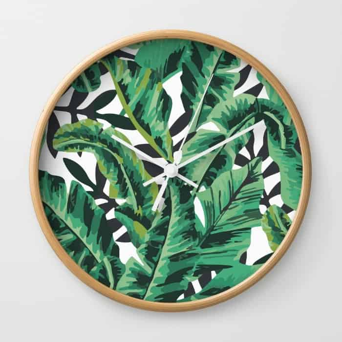 Palm Leaf Print Clock