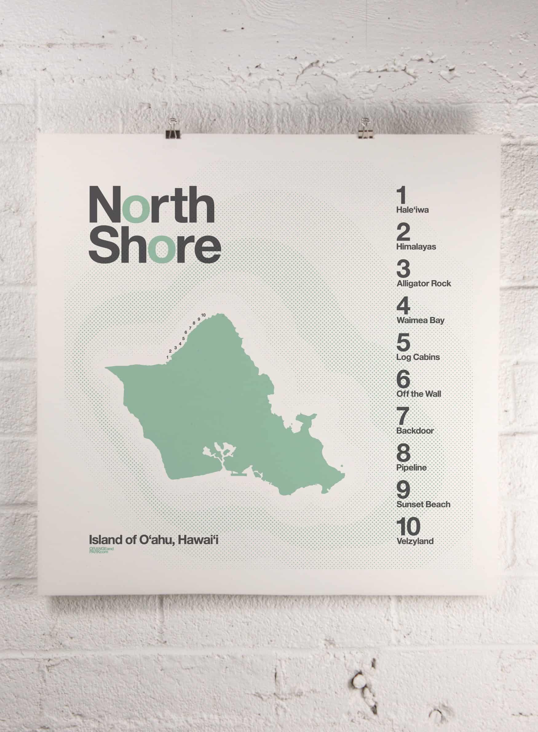 Modern coast and surf prints | Hawaii North Shore surf print | Orange & Park
