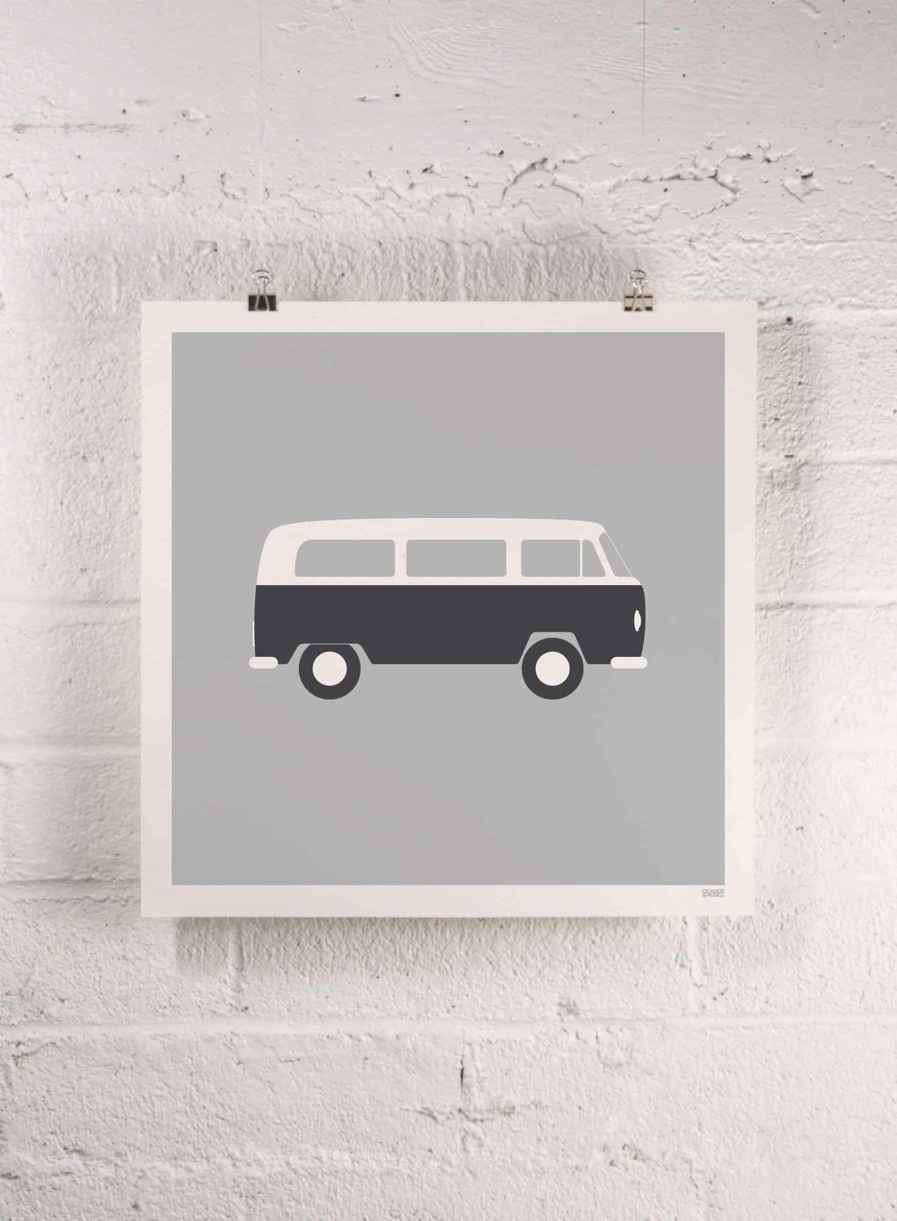 Modern coast and surf prints | VW bus print | Orange & Park