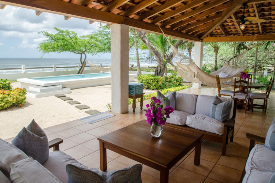 Nicaragua beachfront surf house at Colorados