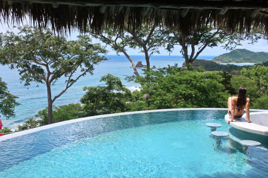 Nicaragua surf hotel with pool view