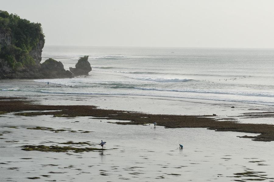 surfing bali reef low tide
