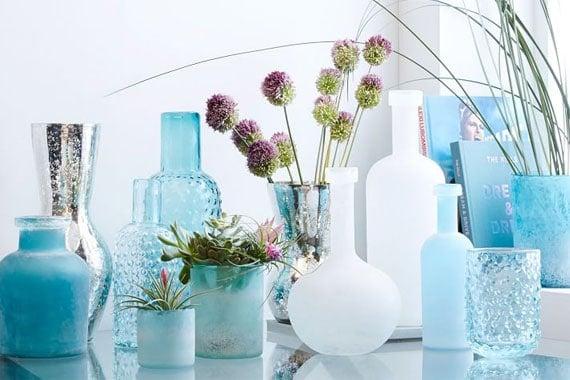 beach house style   blue vases