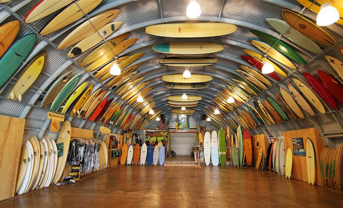 surfboard racks / Bird's surf shed