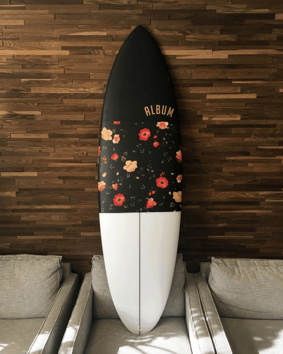 surfboard floral print album surf