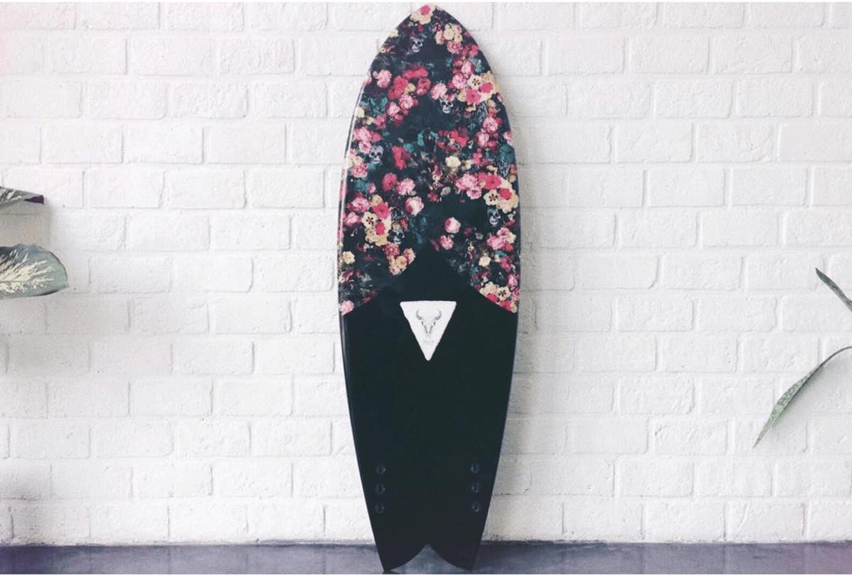 surfboard floral print shortboard folklore