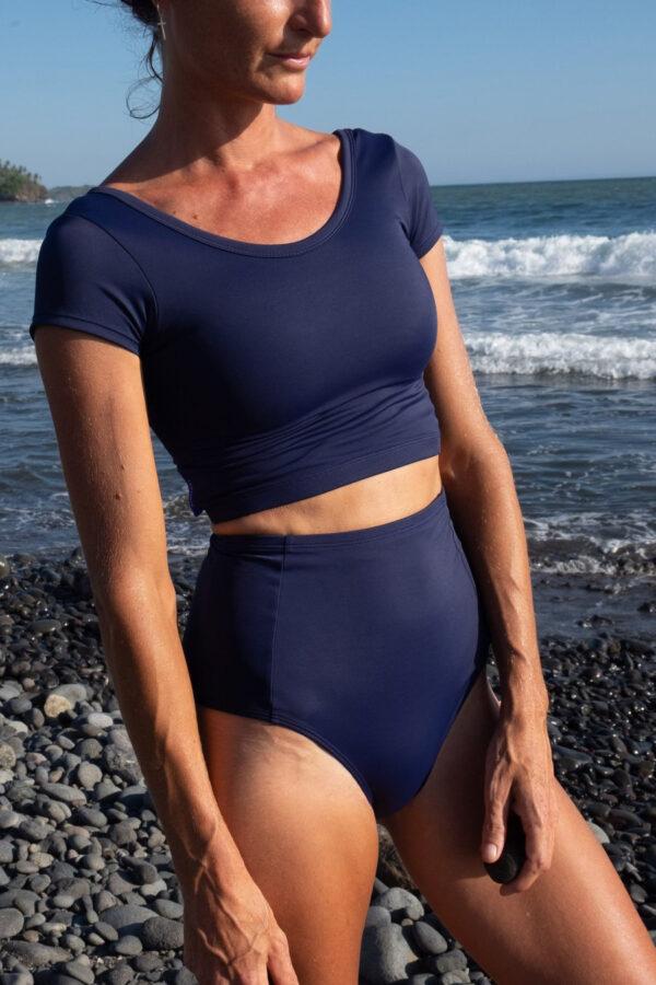 blue rash guard for women
