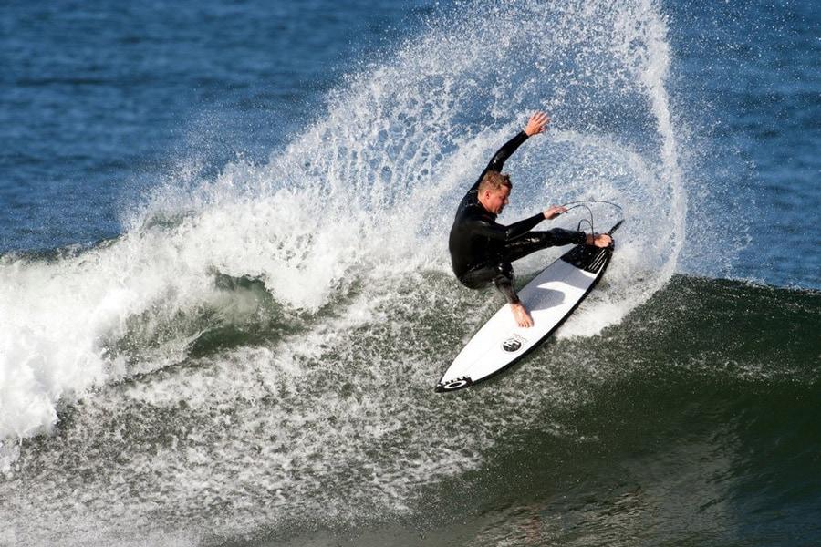 degree 33 team rider surfing a shortboard surfboard