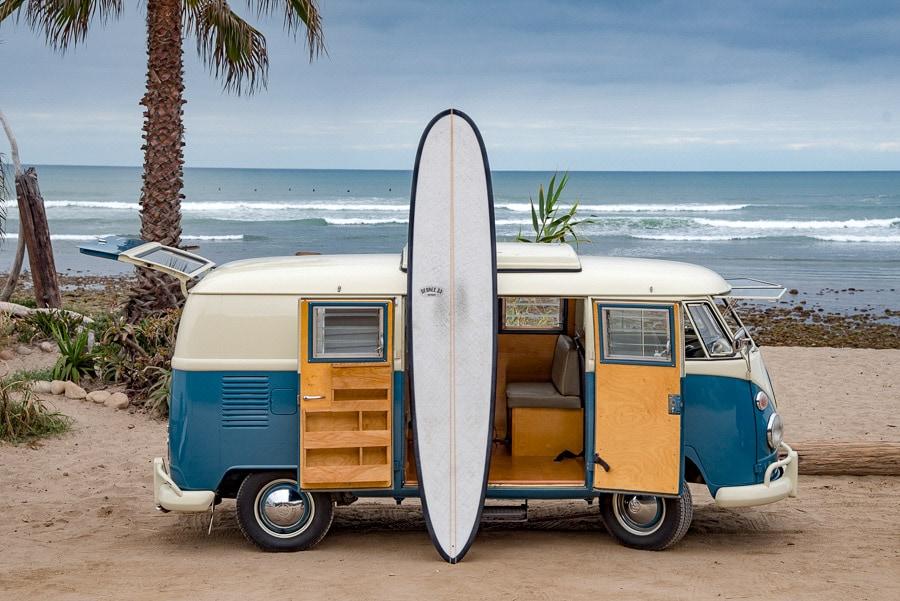 longboard surfboard vw bus san onofre