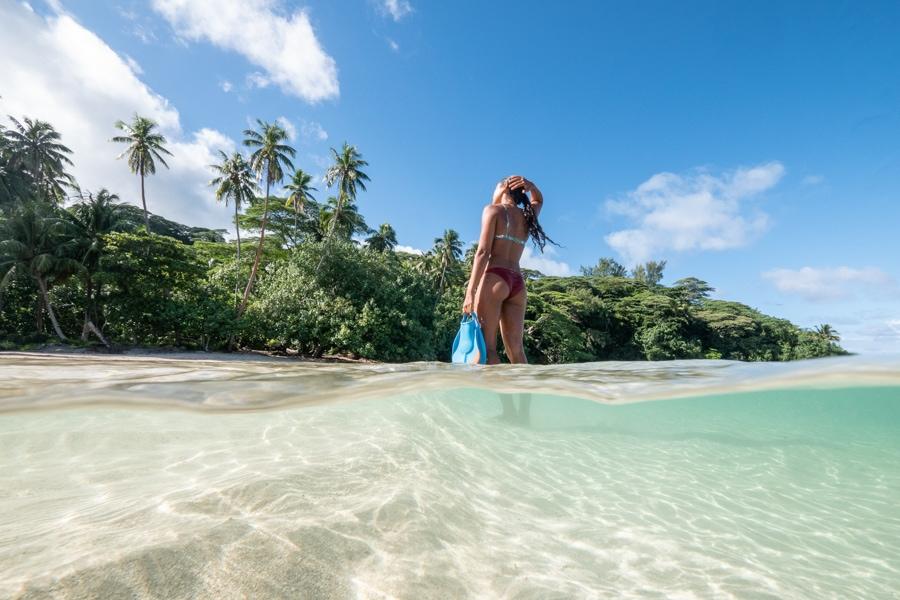 vahine fierro on beach in tahiti
