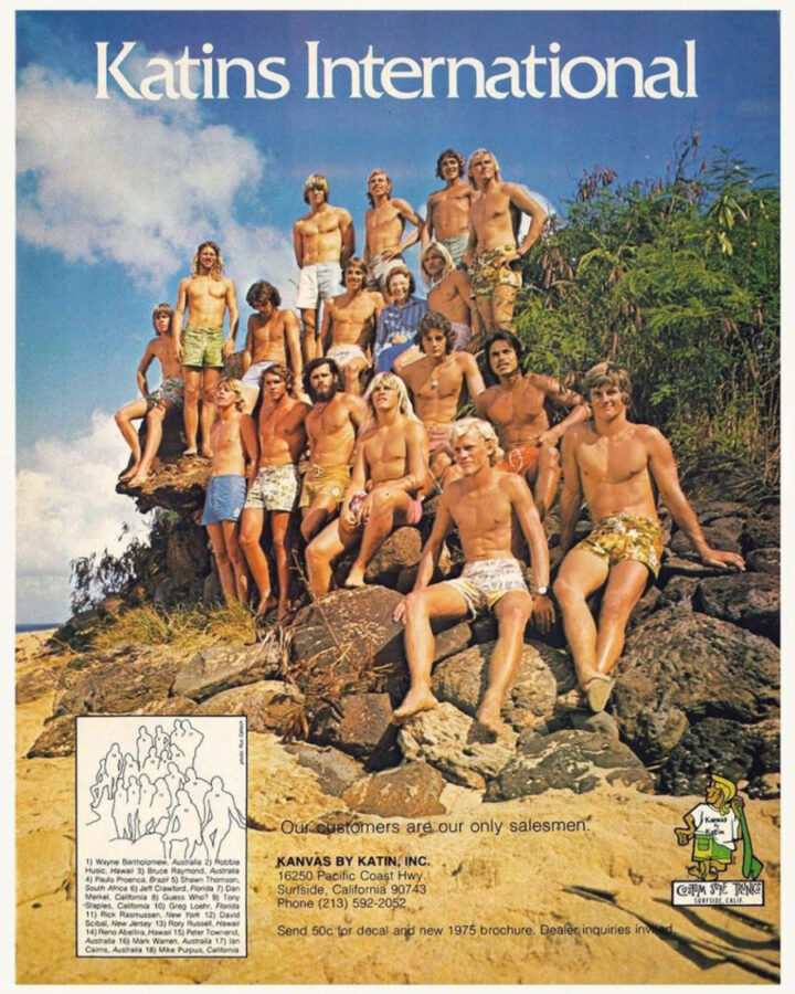 1975 ad for boardshorts by classic surf brand Katin