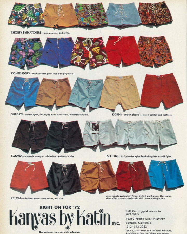 ad from 1972 for boardshorts by classic surf brand Katin