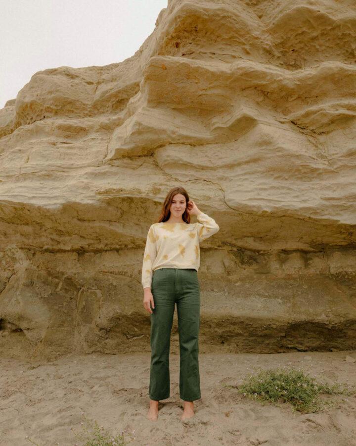 woman wearing Mollusk clothing