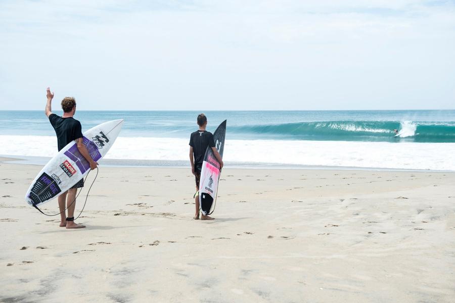 billabong surfers watching surfing