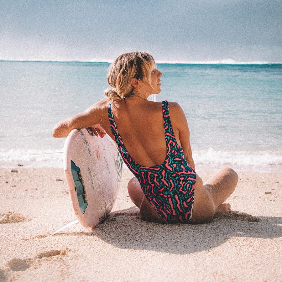 coco ho wearing volcom surf