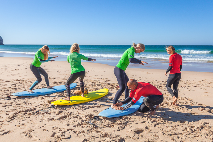beginner surfers learning how to surf