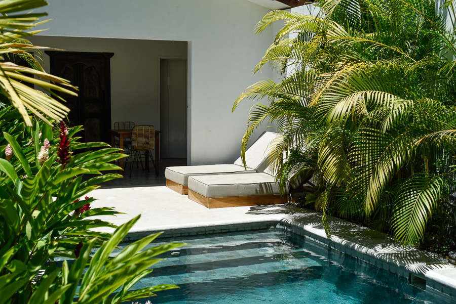 pool with palm trees at surfing camp in costa rica