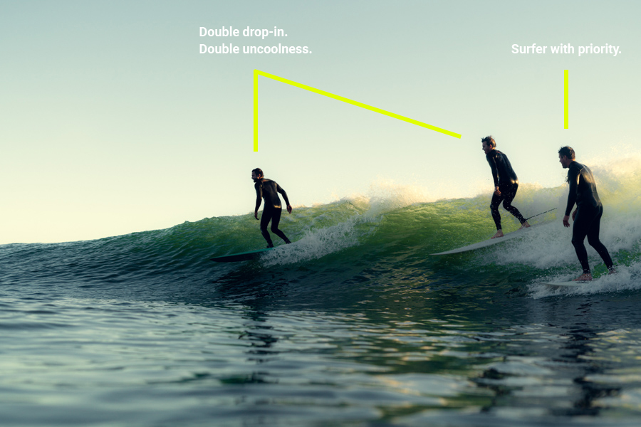 bad surfing etiquette - two surfers dropping in on another surfer