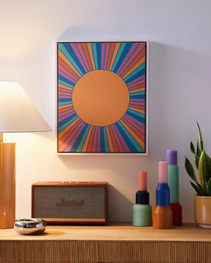 Beach wall art canvas print of a retro sun
