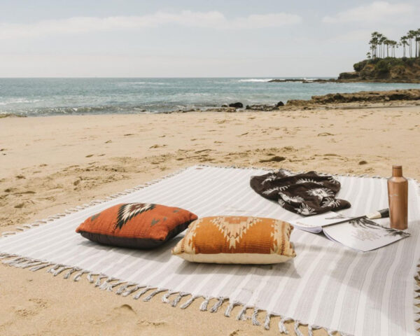 best beach blanket - white and gray cotton beach blanket