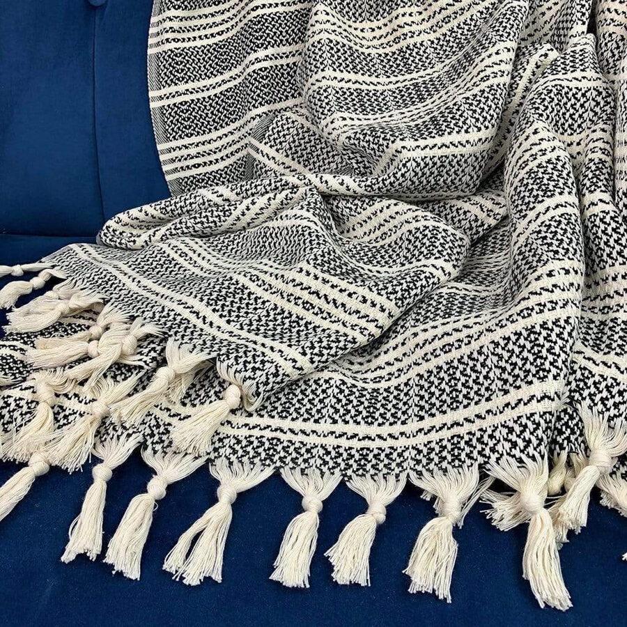 black and white turkish beach blanket with tassels