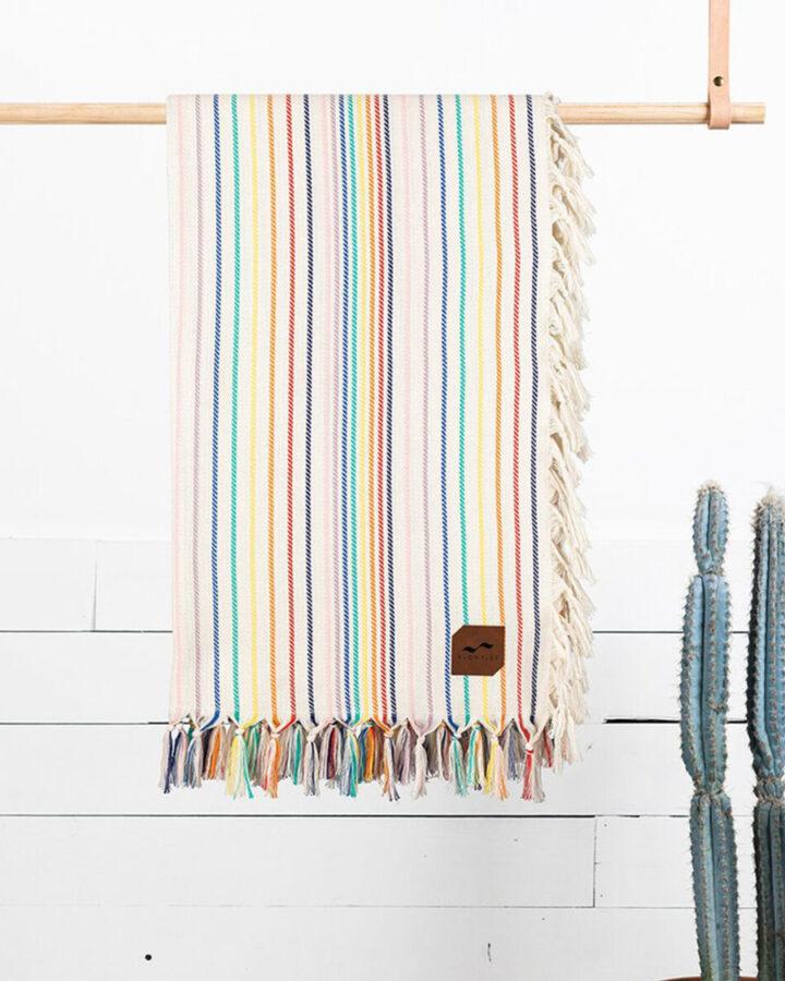 best beach blanket - rainbow stripes and white