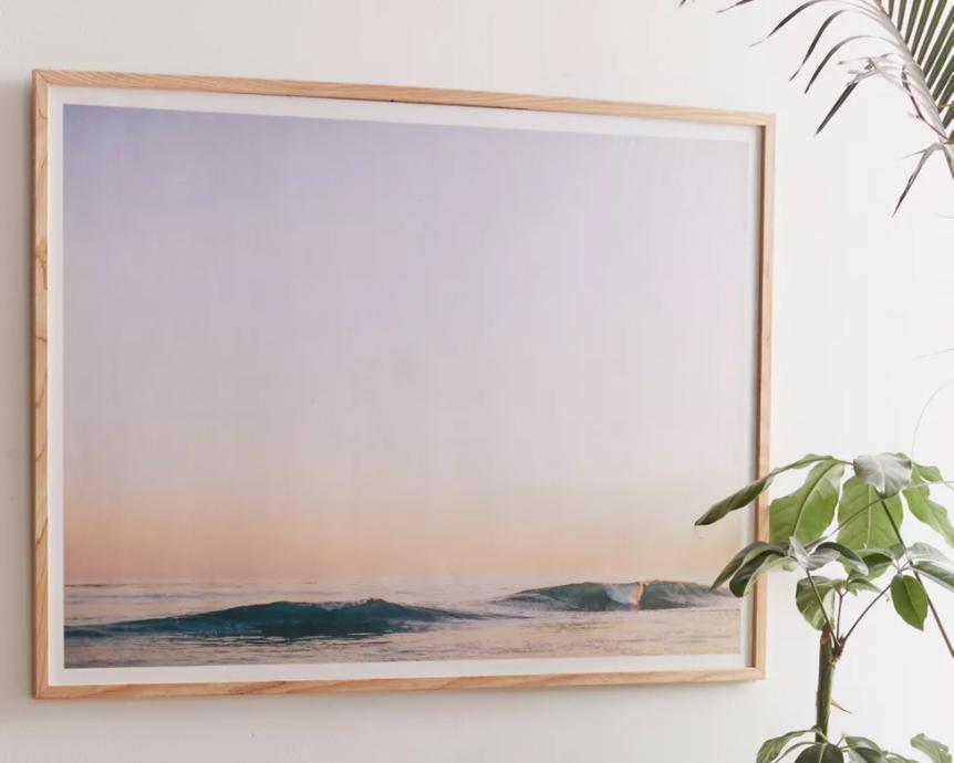 coastal wall art - photo of waves at sunset