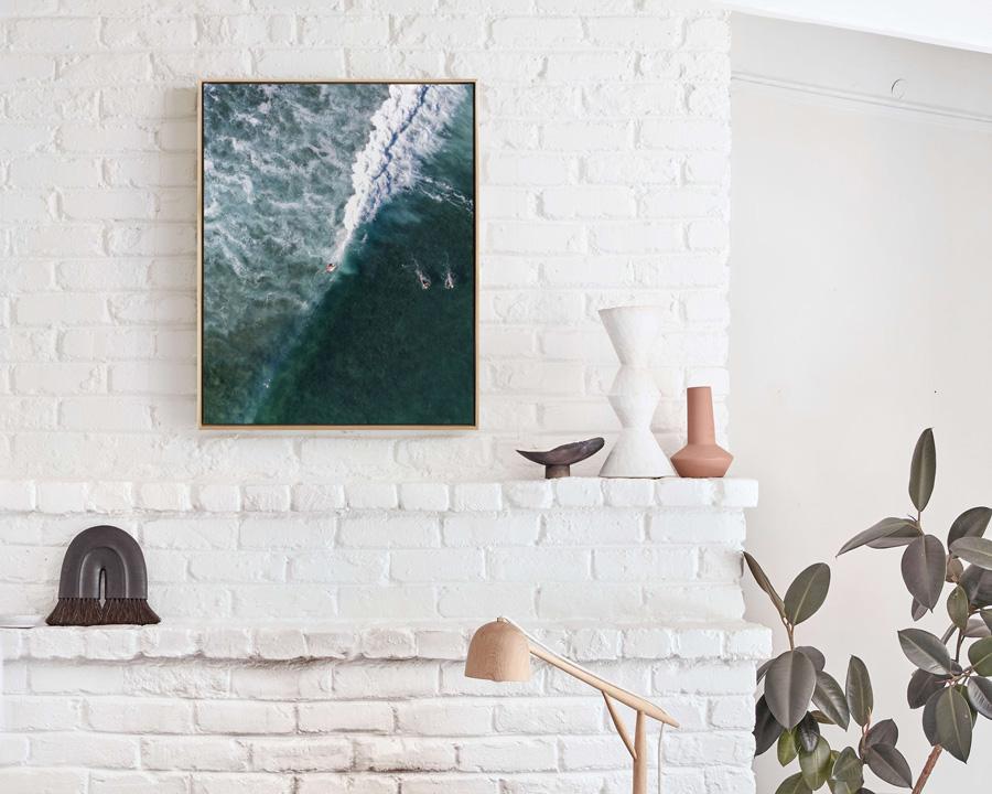coastal wall art - framed canvas art of breaking wave