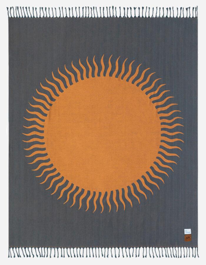 cool beach blankets - dark grey beach blanket with orange retro sun