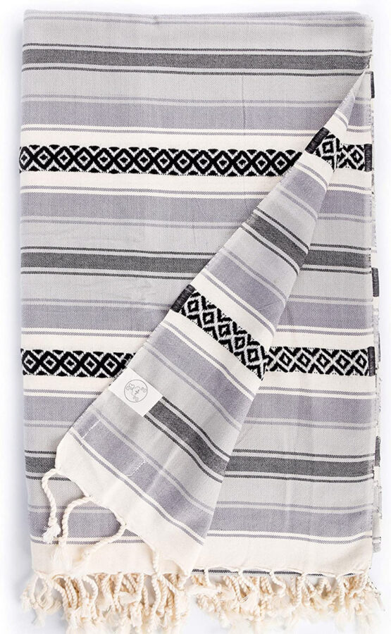 oversized Turkish beach towel with black and grey stripes