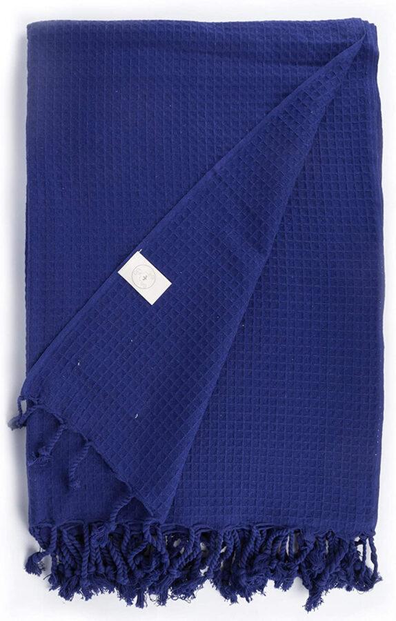 oversized Turkish beach towel in dark blue