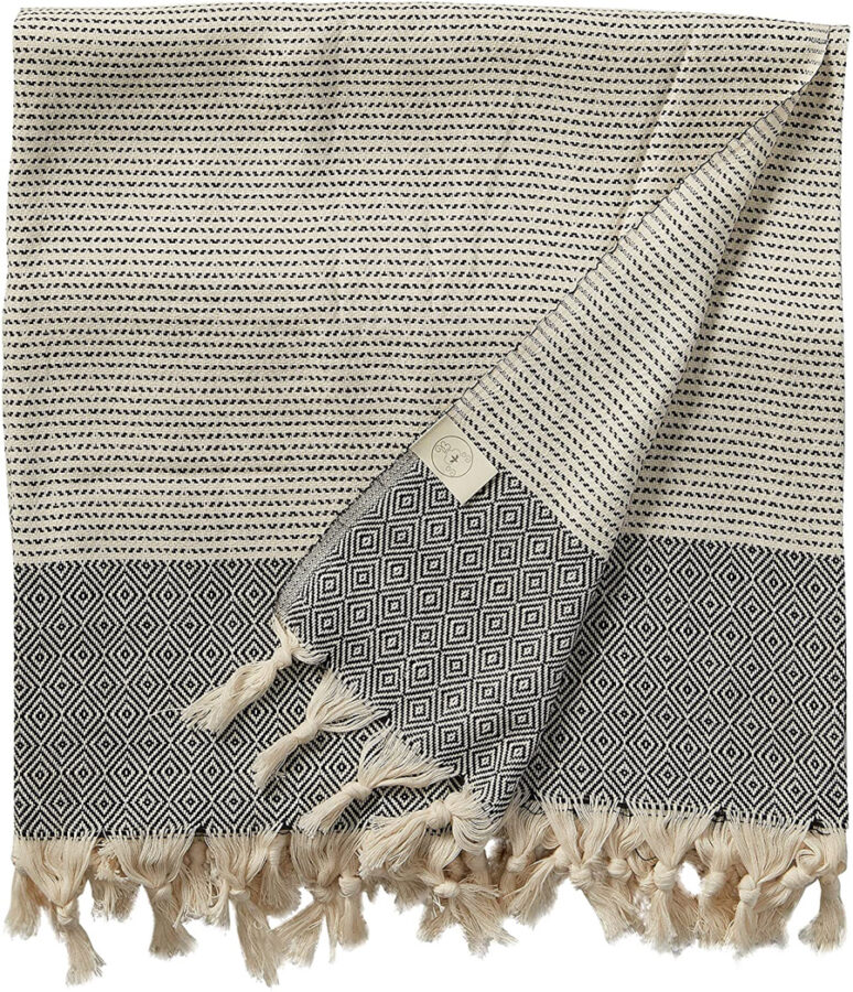 oversized beach towel with tassels