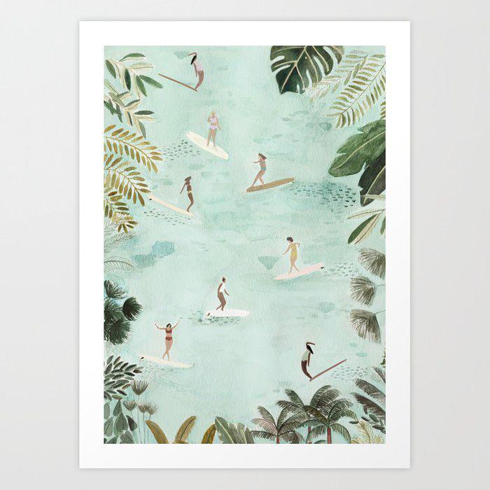 Surf Art Print illustration with surfer girls