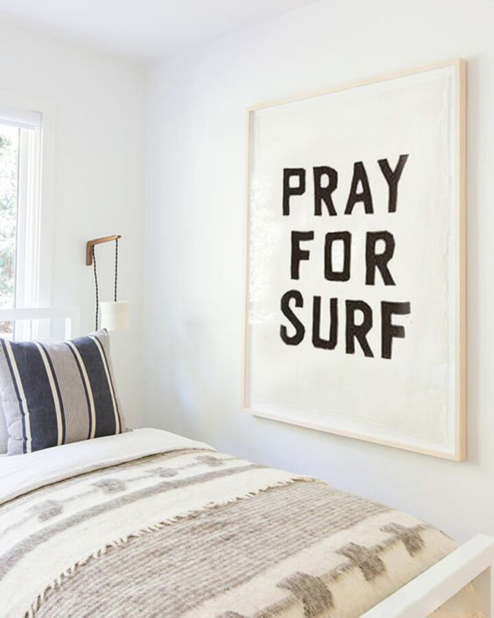Surf Art - Pray for surf wall hanging in bedroom