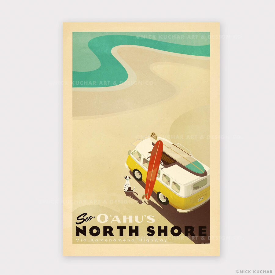 North Shore Oahu surf art print