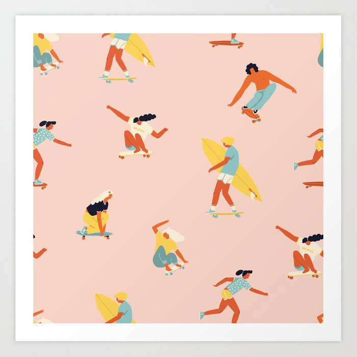 Surf Art Print with skateboarders and surfers