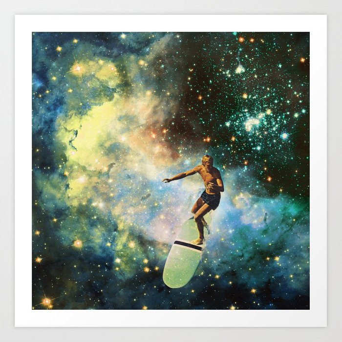 Surf Art Print of man surfing in the stars
