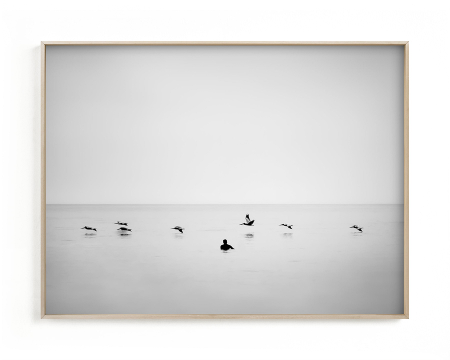 Surf photography print of surfer waiting for waves with birds flying by
