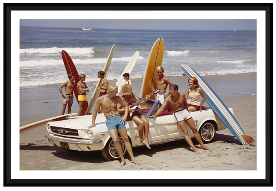 Vintage surf photography print of people at the beach with surfboards