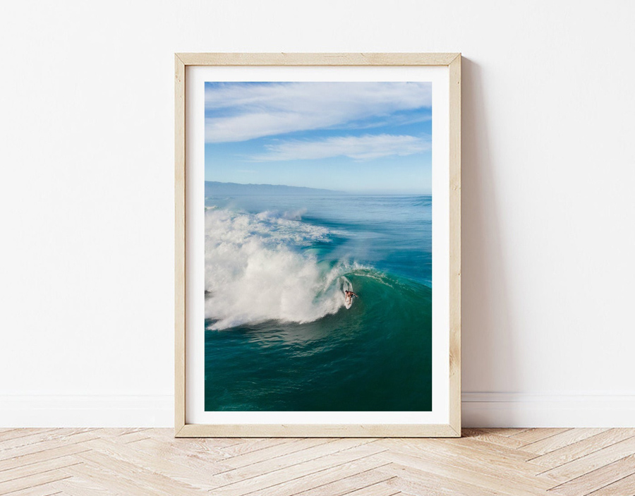 Surf photography print of surfer in barrel at Banzai Pipeline Oahu