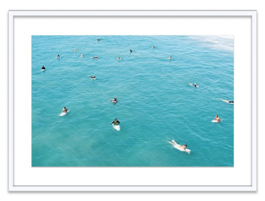 Surf photography print of surfers waiting for waves