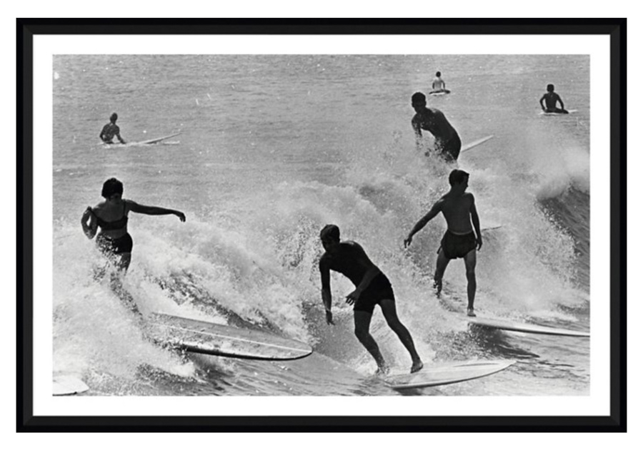 Vintage surf photography print of a party wave