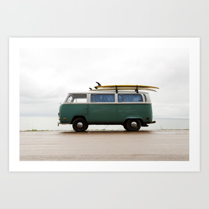 Surf photography print of VW bus with surfboards on the roof
