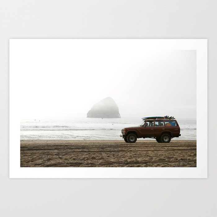 Surf photography print of surf jeep driving on the beach
