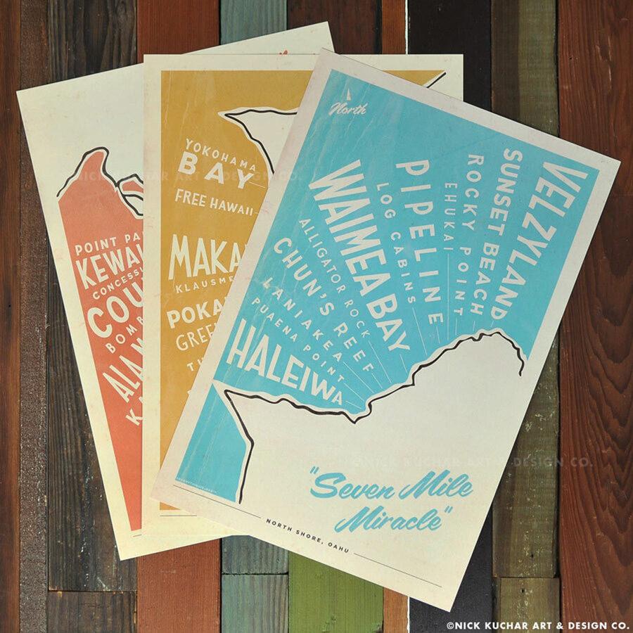 Oahu surf map surf prints