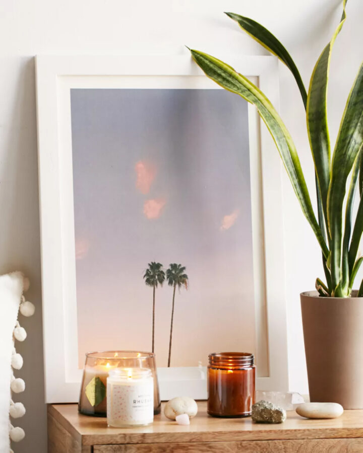 Photography print of two palm trees in the sky