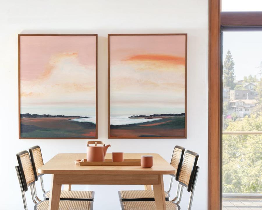 Surf room decor - Coastal scene art pair