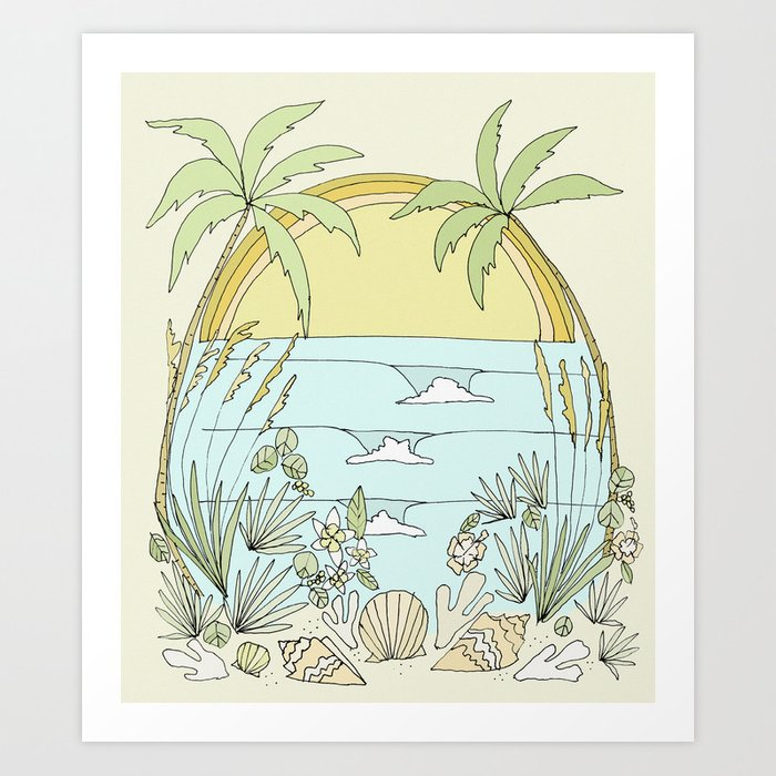 ocean surf art print perfect for a surfing themed room for kids