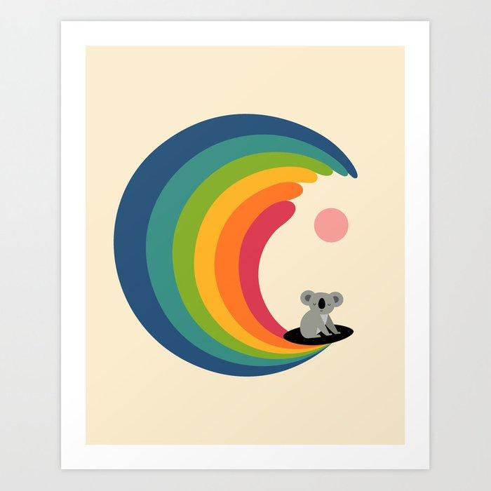 rainbow wave koala art print perfect for surfing room for kids