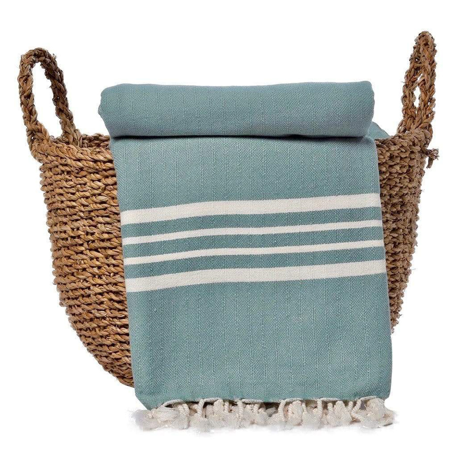turkish beach blanket in teal with white stripes